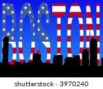 Boston skyline against American flag text illustration