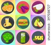 set of various fruits ... | Shutterstock .eps vector #397038727