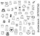 clothes sketch vector set of... | Shutterstock .eps vector #397059763