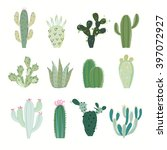 cactus collection in vector... | Shutterstock .eps vector #397072927