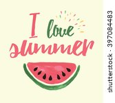 vector print with watermelon... | Shutterstock .eps vector #397084483
