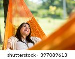 cheerful girl enjoy in orange... | Shutterstock . vector #397089613