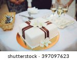 wedding cake with orchids and...   Shutterstock . vector #397097623