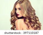 beautiful girl with long wavy... | Shutterstock . vector #397110187