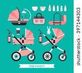 vector baby transport set. baby ... | Shutterstock .eps vector #397144303