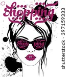 fashion women with sunglasses... | Shutterstock .eps vector #397159333