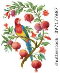 Colorful  Parrot On Pomegranat...
