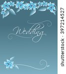 blue floral wedding invitation... | Shutterstock . vector #397214527