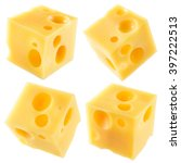 cube of cheese isolated on a... | Shutterstock . vector #397222513