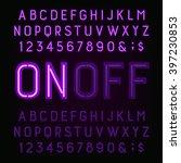 purple neon light alphabet font.... | Shutterstock .eps vector #397230853