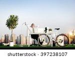 businessman bicycle eco... | Shutterstock . vector #397238107