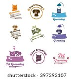 Stock vector pet labels veterinarian icon set pet grooming dog grooming labels pet badges pet grooming or 397292107