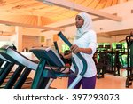 an african muslim woman is...   Shutterstock . vector #397293073