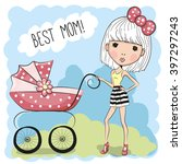greeting card best mom with... | Shutterstock . vector #397297243