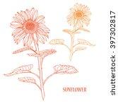 elegant decorative sunflower ... | Shutterstock .eps vector #397302817