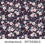 Stock vector cute pattern in small flower small white flowers black background seamless floral pattern 397333813