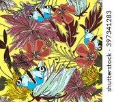 vector seamless flower pettern... | Shutterstock .eps vector #397341283