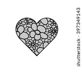 heart shape with hand drawn... | Shutterstock .eps vector #397349143
