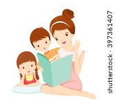 mother reading tale book to... | Shutterstock .eps vector #397361407