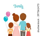 happy family hugging together ... | Shutterstock .eps vector #397361473