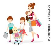 mother and children shopping... | Shutterstock .eps vector #397361503