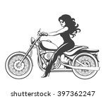 beautiful girl on a motorcycle... | Shutterstock .eps vector #397362247