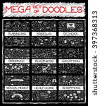 mega set of doodles. chalk... | Shutterstock .eps vector #397368313