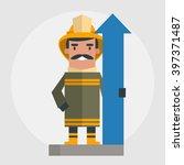 happy fireman. vector... | Shutterstock .eps vector #397371487