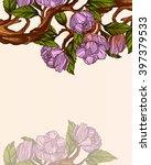 magnolia branch   Shutterstock .eps vector #397379533