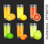 set of fresh citrus juices.... | Shutterstock .eps vector #397383733