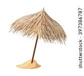 beach umbrella from cane.... | Shutterstock .eps vector #397386787