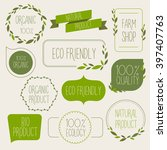 collection of green labels and... | Shutterstock .eps vector #397407763
