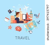 travel the world. search tour... | Shutterstock .eps vector #397415797