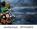 colorful organic vegetables and ... | Shutterstock . vector #397416853