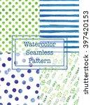 set of watercolor seamless... | Shutterstock .eps vector #397420153