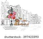 series of street views in the... | Shutterstock .eps vector #397423393