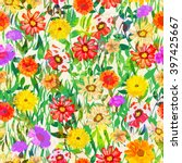 colorful seamless pattern with... | Shutterstock .eps vector #397425667