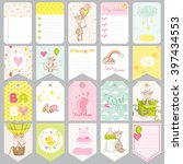 baby boy tags. banners.... | Shutterstock .eps vector #397434553
