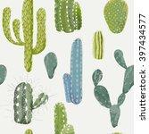 vector cactus background.... | Shutterstock .eps vector #397434577