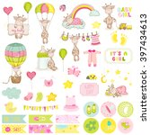 baby boy giraffe scrapbook set. ... | Shutterstock .eps vector #397434613