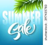 summer sale lettering on blue... | Shutterstock .eps vector #397435783