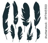 feather set. set of silhouettes. | Shutterstock .eps vector #397445503
