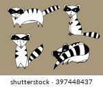 funny racoons. set of stylized... | Shutterstock .eps vector #397448437
