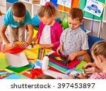 group kids holding colored... | Shutterstock . vector #397453897