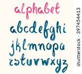 hand drawn blue ink alphabet.... | Shutterstock .eps vector #397454413