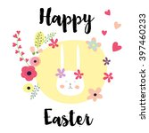 hand drawn happy easter day... | Shutterstock .eps vector #397460233