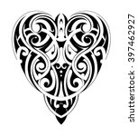 tribal tattoo heart shape | Shutterstock .eps vector #397462927