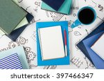 office table desk with blue... | Shutterstock . vector #397466347