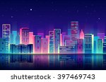 vector night city illustration... | Shutterstock .eps vector #397469743