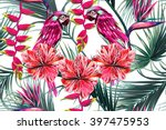 parrots  tropical flowers  palm ... | Shutterstock .eps vector #397475953